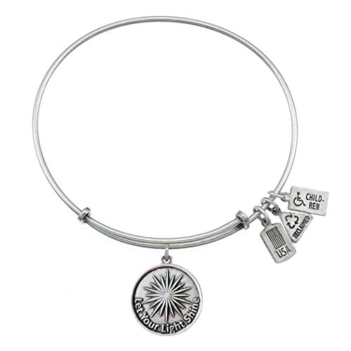 Wind and Fire Let Your Light Shine Silvertone Medal Charm Bangle