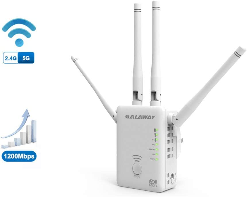 GALAWAY WiFi Extender 4 External Antennas 1200Mbps Wireless Signal Booster Dual Band 2.4GHz and 5GHz WiFi Range Amplifier with 802.11ac/a/b/g/n Standards