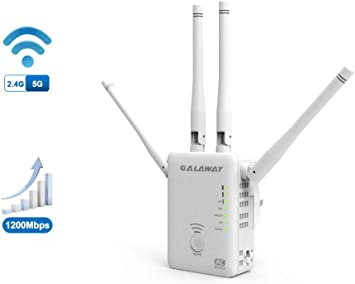 GALAWAY 1200Mbps WiFi Extender with 4 External Antennas 2.4GHz+5GHz Dual Band Mini Wireless Signal Extender with Ethernet Port Compatible with 802.11ac//a//b//g//n Standards WiFi Range Amplifier