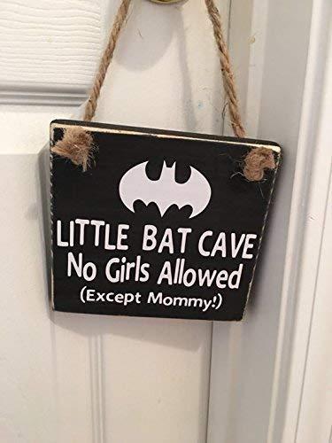 Little Bat Cave No Girls Superhero Door -