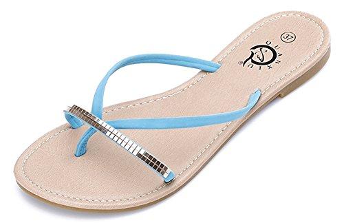Fortuning's JDS Moderno estilo chanclas muestra de zapatillas planas Azul