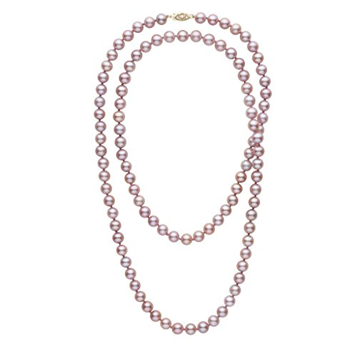 35-inch 7.5-8.0 mm AAA Lavender Freshwater Cultured Pearl Necklace 14K White Gold ()