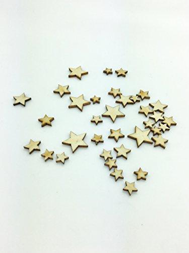 100pièces en bois étoile pointu Craft Forme 3mm en contreplaqué en tailles 10–30mm
