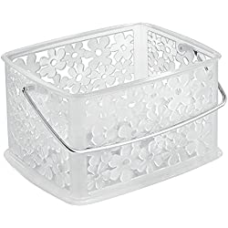 "InterDesign Blumz Household Storage Basket with Handle for Bathroom, Beauty Supplies and Health Products - Small (6.7"" x 9.2"" x 5.2""), Clear"