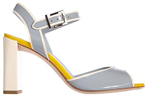 Fendi sandales femme à talon en cuir polve sun flowers jaune