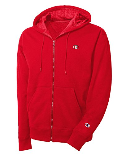 Champion LIFE Men's Reverse Weave Full-Zip Hoodie, Team Red Scarlet/Left Chest C Logo and Sleeve Patch, Medium