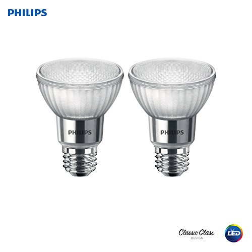 Philips 471243 LED Classic Glass Dimmable PAR20 40-Degree Spot Light Bulb with Warm Glow Effect 500-Lumen, 2200-2700-Kelvin, 7 (50-Watt Equivalent), E26 Base, Soft White, 2 Pack