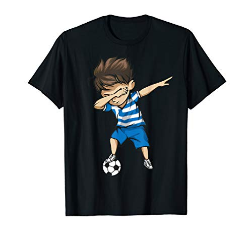 Dabbing Soccer Boy Greece Jersey Shirt - Greek Football Gift