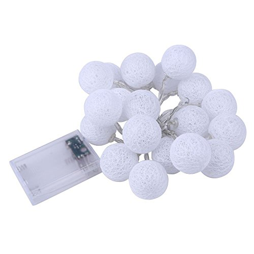 Tuscom 2.3M 20LED Cotton Ball Strings Fairy Tale Indoor Outdoor Decorative Lights for Courtyard/Garden/Party/Christmas Tree/Wedding/Dorm/Room Decoration (3 Colors) (Cool White)