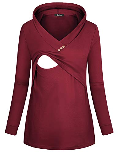 Quinee Nursing Shirts, Ladies Funtional Basic Kintting Plus Size Tops Long Sleeve Warm Postpartum Sweater Ever Pretty Soft Nursing Pumping Sweatshirts Wine (Belly Basics Maternity Clothes)