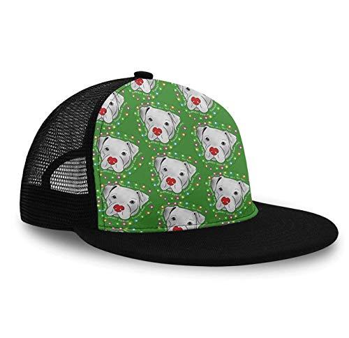 YongColer Unisex Hip Hop Cap - Pitbull Christmas - Adjustable Mesh Baseball Hats Snapback Hat for Outdoor Sports