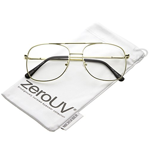 zeroUV - Classic Metal Double Crossbar Square Clear Lens Aviator Glasses 55mm (Gold / - Women For Geeky Glasses