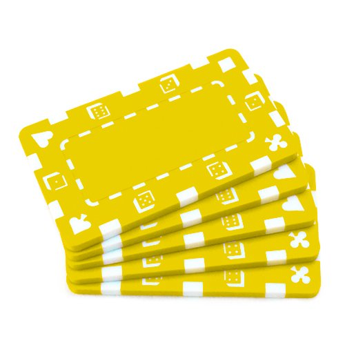 [5 Rectangular Poker Chips - European Style Plaque by Brybelly (Yellow)] (Rectangular Chip)