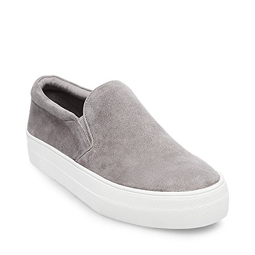 Steve Madden Women's Gills Fashion Sneaker, Grey Suede, 7 M US
