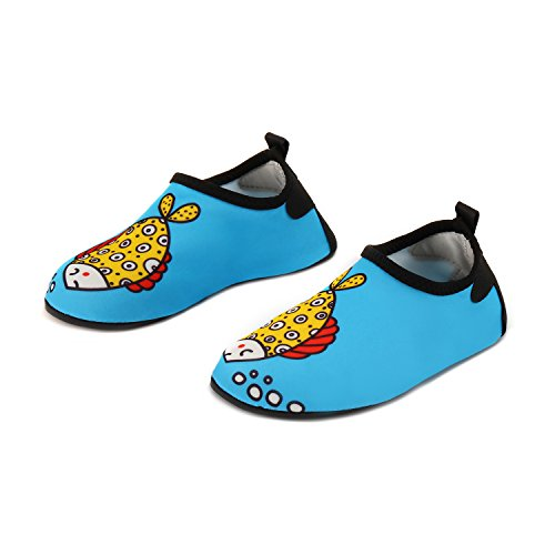 Yidomto Kids Water Shoes, Quick Dry Barefoot Socks for Toddler Boys & Girls on Beach Swim Pool(Bubble Fish-28/29)