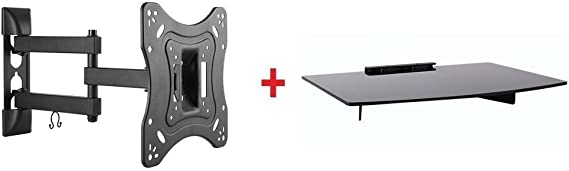 Mount Plus 1095-31 Tilt Swivel Corner Wall Mount with Bundle Single Glass shelf of Cable Box DVD Player Stereo Components for Most 23 to 42 VESA 100×100 200×100 200×200 LCD LED HDTV