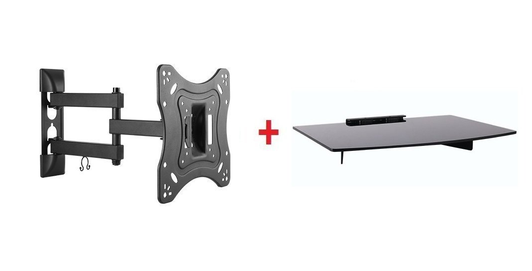 "Mount Plus 1095-31 Tilt Swivel Corner Wall Mount with Bundle Single Glass shelf of Cable Box DVD Player Stereo Components for Most 24"" 26"" 32"" (VESA 100x100 200x100 200x200) LCD LED HDTV"