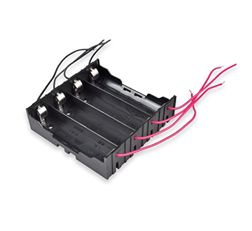 18650 Battery Holder Parallel, 4-Slot 3.7V 18650 Battery Storage Box Case with 8 6-inch Bare Wire Leads [2-Pack]