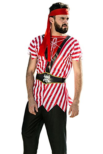 40's Themed Costumes (Adult Men Raggy Pirate Costume Jamaica Buccaneer Swashbuckler Dress Up Outfits (Medium/Large, Red, Black, White))