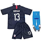 City surfers New #13 USA Soccer Morgan 2018/2019 Kids/Youths Away Jersey & Shorts
