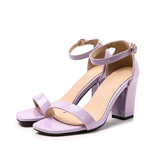 ♚Deadness-Shoes Women's Single Band Chunky Heel Sandal Open Toe Buckle Ankle Strap Chunky Low Mid Block Heel Sandal Classy Kitten Sandal Purple -