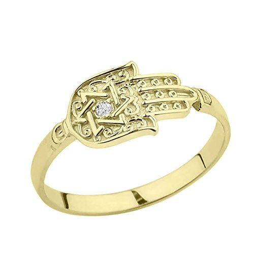 Unique 10k Yellow Gold Diamond Hamsa Hand Star of David Ring (Size 8) 10k Gold Eastern Star