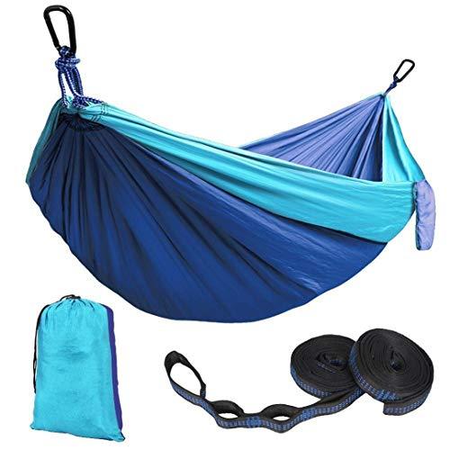 (XiuanCum Portable Nylon Parachute Hammock Outdoor Camping Portable Hammock Tied Tree Straps Parachute Black red)