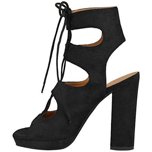 La Mode Soif Womens Lace Up Bloc Talons Hauts Sandales Cheville Haute Plates-formes Chaussures Taille Noir Faux Daim