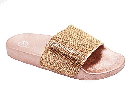 G.N.D Women's Fancy Slipper Slide Sandal #295 (9, Rose - Gold D&g