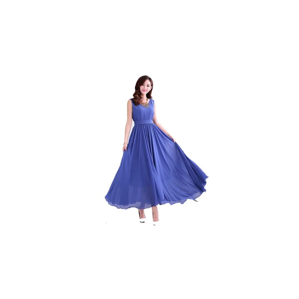 Kawen Womens Sleeveless Boho Bohemian Chiffon Summer Beach Long Maxi Dress