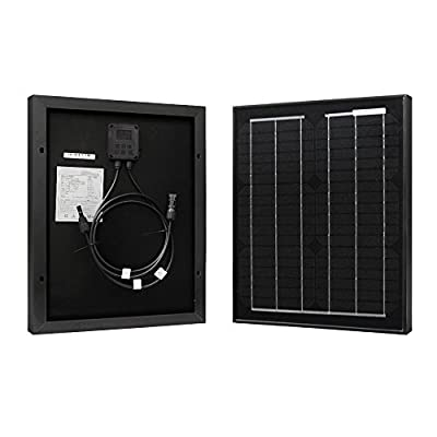 HQST 10 Watts 12 Volts Monocrystalline Solar Panel with MC4 Connectors for DC 12V Battery Charging and Any Other Off Grid Applications