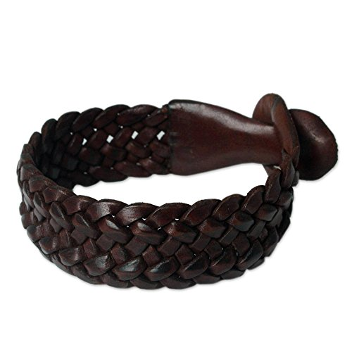NOVICA Men's Brown Braided Leather Wristband Bracelet, 8.5