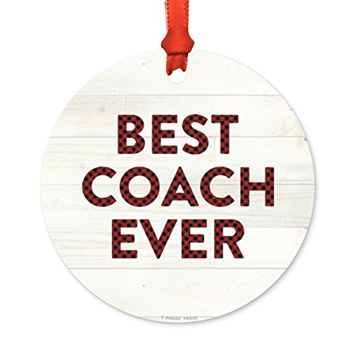 Andaz Press Round Metal Christmas Ornament, Best Coach Ever, Red Plaid on Light Rustic Wood, 1-Pack, Includes Ribbon and Gift Bag, Birthday Present Gift Ideas -