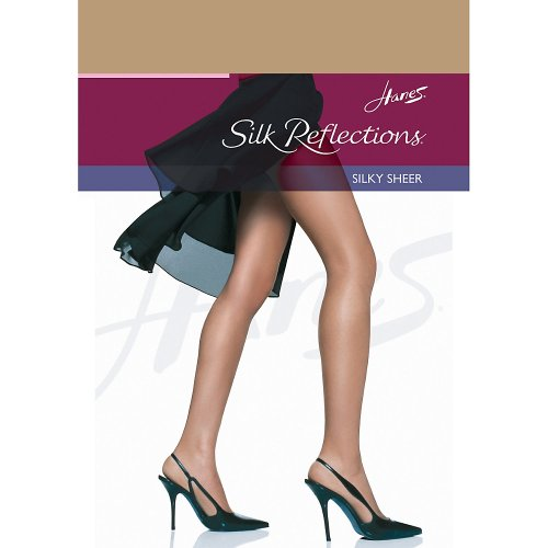 Hanes Women`s Set of 3 Silk Reflections Non-Control Top RT Pantyhose CD, Little Color