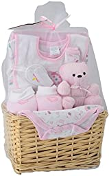 Big Oshi Baby Essentials 9-Piece Layette Basket Gift Set, Pink, 0-6 Months