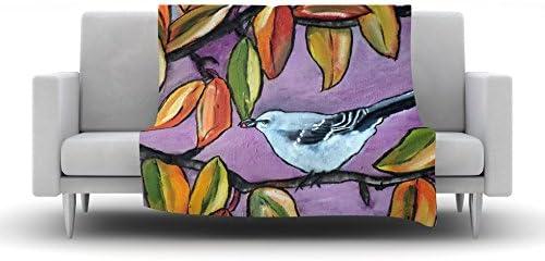 Kess InHouse Cathy Rodgers Mockingbird Purple Orange Fleece Throw Blanket 80 by 60