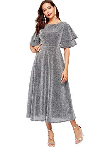 MakeMeChic Women's Elegant Flounce Sleeve Glitter Tiered Layer Zipper Back Stretchy Long Dress Silver M