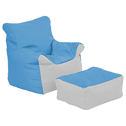 ECR4Kids Bean Bag Chair and Ottoman Set, French Blue and Light Grey (Light Blue Leather Ottoman)