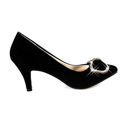 Amoonyfashion Solide Scarpe Da Donna Imitate In Pelle Scamosciata Con Tacco Alto A Punta Chiusa Scarpe-scarpe Nere