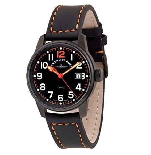 Zeno Classic Pilot Black Dial Leather Strap Men's Watch 3315Q-BK-A15
