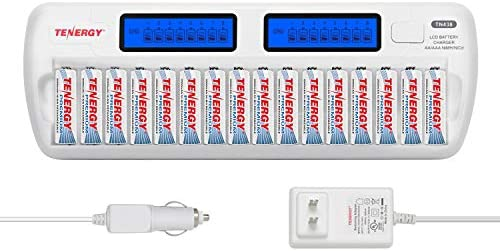 Tenergy TN438 16-Slot Smart Battery Charger for AA/AAA NiMH/NiCd LCD Display + 16 Premium Rechargeable AA Batteries