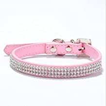 ZasPen(TM) Rhinestone Puppy Dog Cat Collars Bling Collar for Small Medium Breeds 3 Rows Puppy Neck Strap XS S M L [XS Pink]