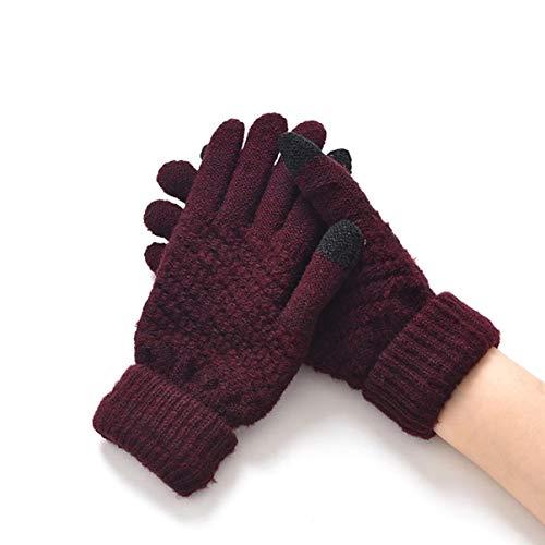 1 Pack (1 Pair) Knitted Women Men Winter Gloves Warm Screen Sense Mittens Unisex Girls Kids First-Class Popular Extreme Gym Softball Plus Tactical Work Hand Wrist Strap Dryer Touch Glove, Type-04
