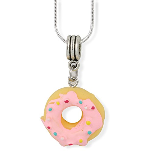 Icing Charm Necklace - Donut ( Yellow Doughnut with Pink Icing and Sprinkles) Charm Snake Chain Necklace