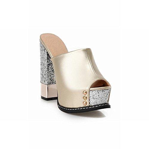 Carolbar Chic Womens Sequins Fashion Shiny Peep Toe Platform High Chunky Heel Sandals Slippers Gold