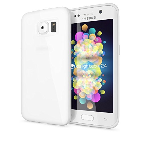 delightable24 Premium Protective Case TPU Silicone Jelly SAMSUNG GALAXY S6 EDGE PLUS Smartphone - White (Samsung Galaxy Exhibit Case Bling)