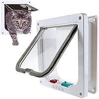 WADEO Cat Flap 4 way locking Cat Doors Classic Pet Door for Dog Cat Flaps with Door Liner Tunnel Included Easy Install
