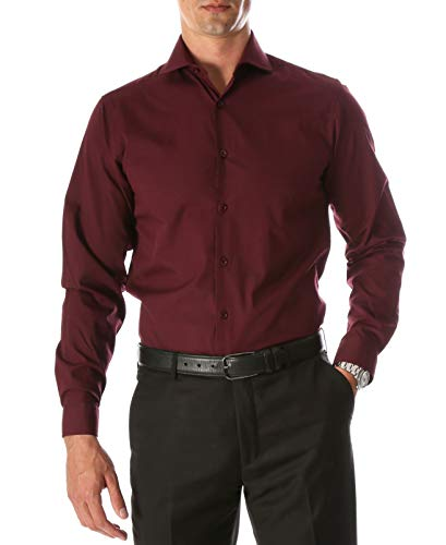 Ferrecci M 15.5 32-33 Leo Burgundy Slim Fit Barrel Cuff Dress Shirt