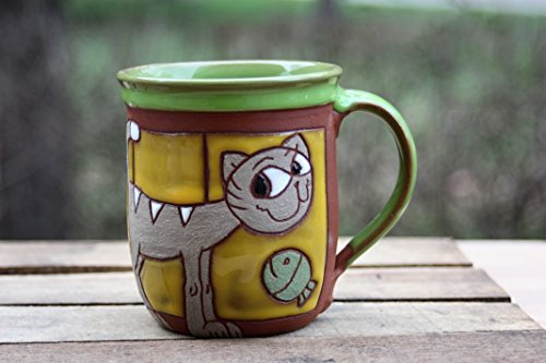 Funny Cup. Pottery Coffee or Tea Mug. Handmade Ceramics. Ceramic art. Cat Mug