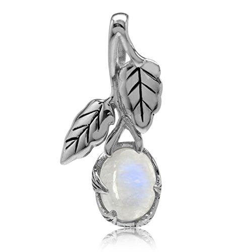 Natural Moonstone 925 Sterling Silver Leaf Vintage Inspired - Inspired Pendant Silver